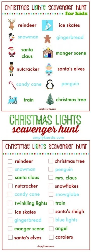christmas lights scavenger hunt | free printable | oldsaltfarm.com