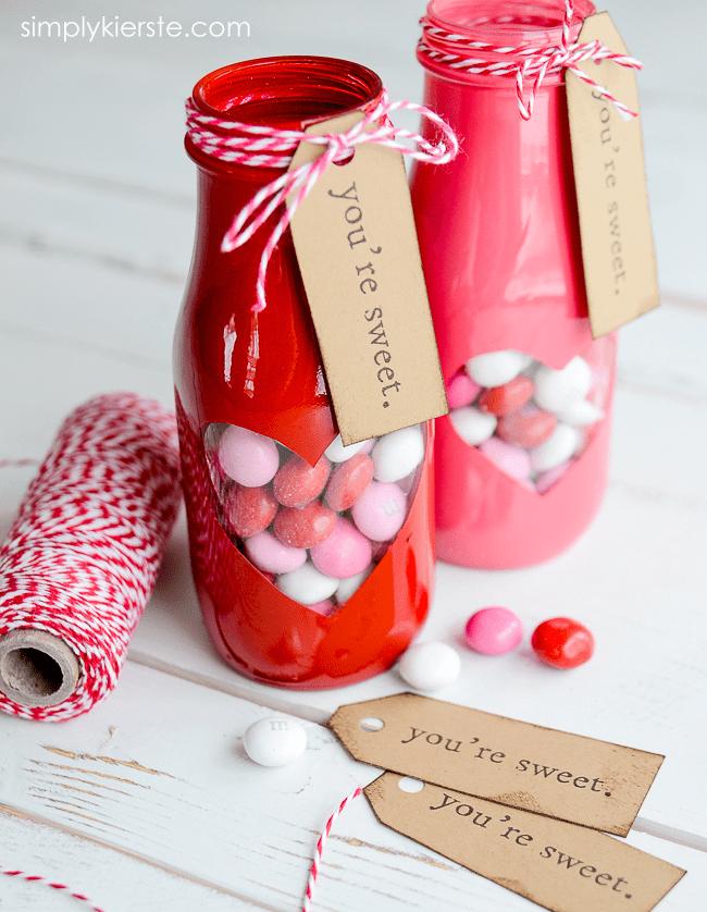 Valentine Treat Jar with free printable | oldsaltfarm.com