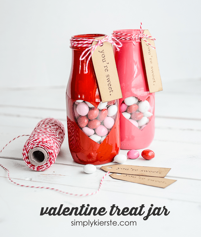 Valentine Treat Jar with free printable   oldsaltfarm.com