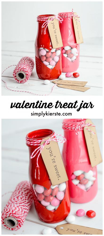 Adorable peek-a-boo Valentine treat jar with free printable!   oldsaltfarm.com