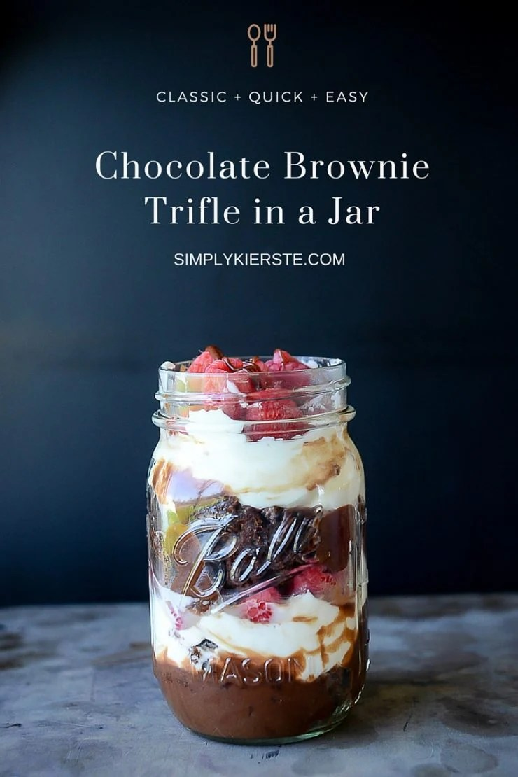 Chocolate Brownie Trifle in a Jar | oldsaltfarm.com