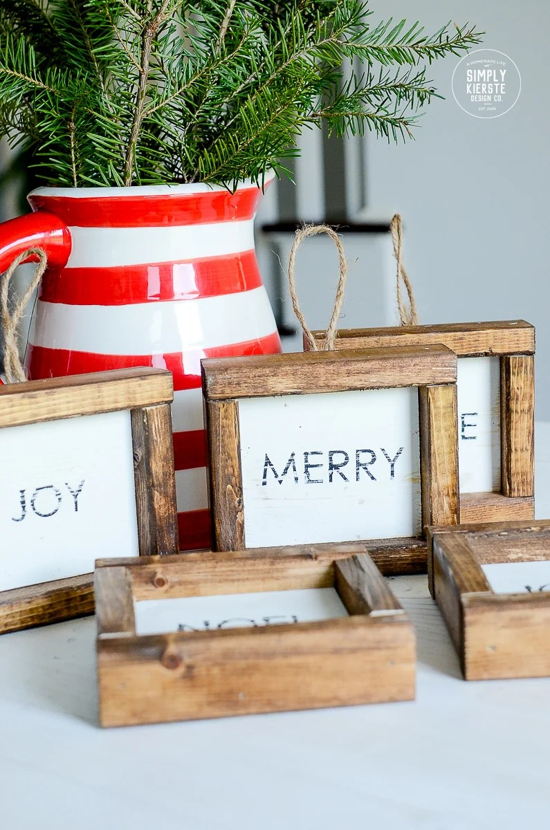 Farmhouse Wood Framed Christmas Ornaments | simply kierste.com