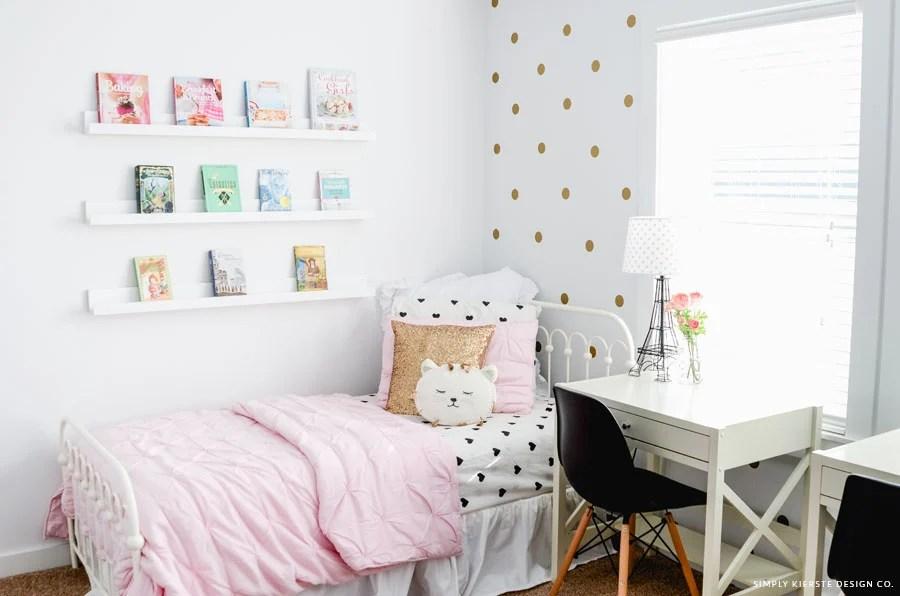 Pink & Gold Girls' Bedroom Makeover