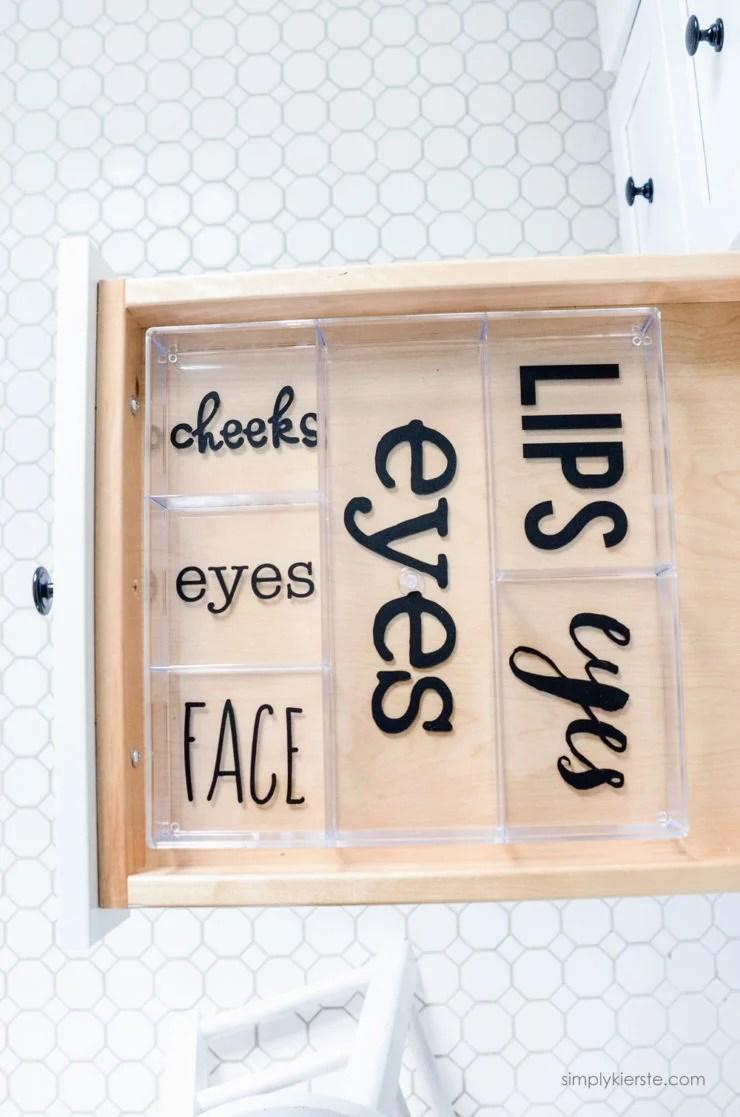 Labeled Makeup Organizer | Silhouette | simply kierste.com