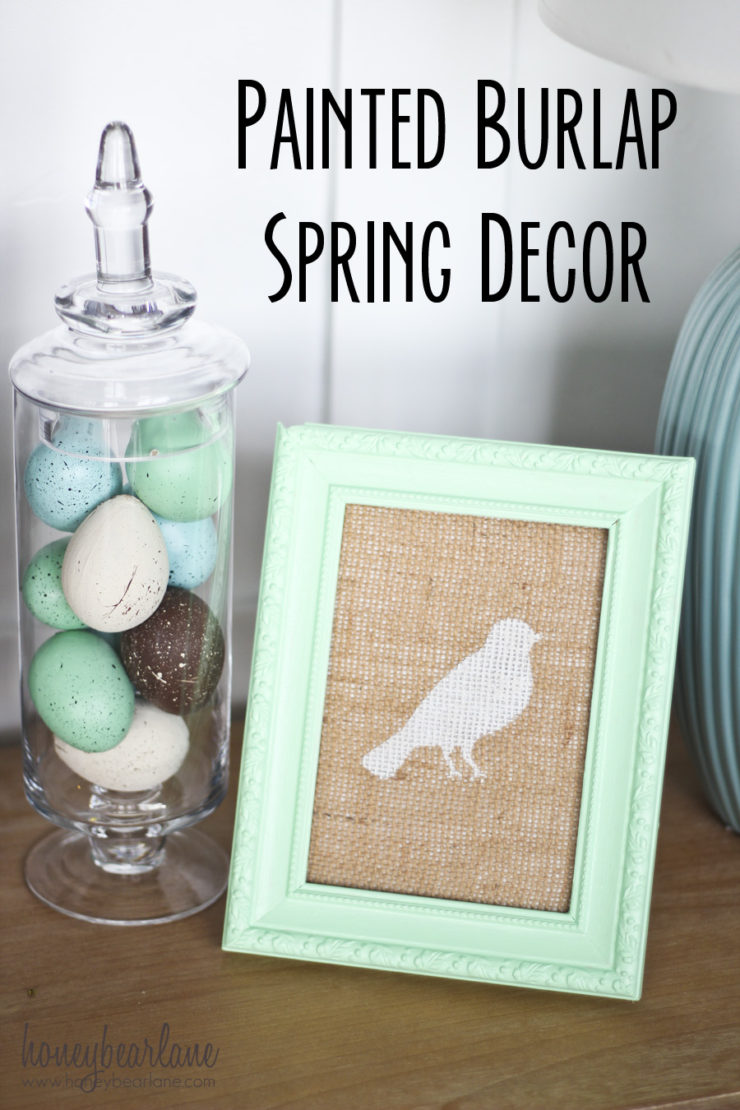 Painted Burlap Spring Decor | Spring Decor Ideas | oldsaltfarm.com