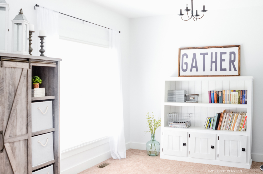 Before & After: Farmhouse Style Music Room & Library | oldsaltfarm.com