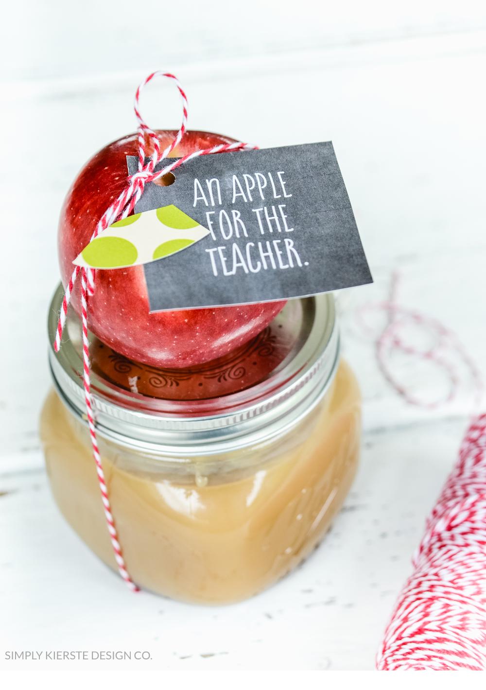 Apple Caramel Dip Teacher Gift | oldsaltfarm.com