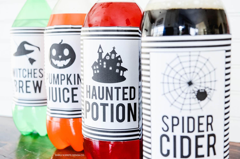 Halloween Soda Pop Labels | Free Printable | Easy Halloween Ideas | oldsaltfarm.com #halloween #easyhalloweenideas #halloweenprintables #halloweenpartyideas