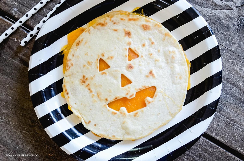 Jack-o-lantern Quesadillas | Easy Halloween Ideas | oldsaltfarm.com