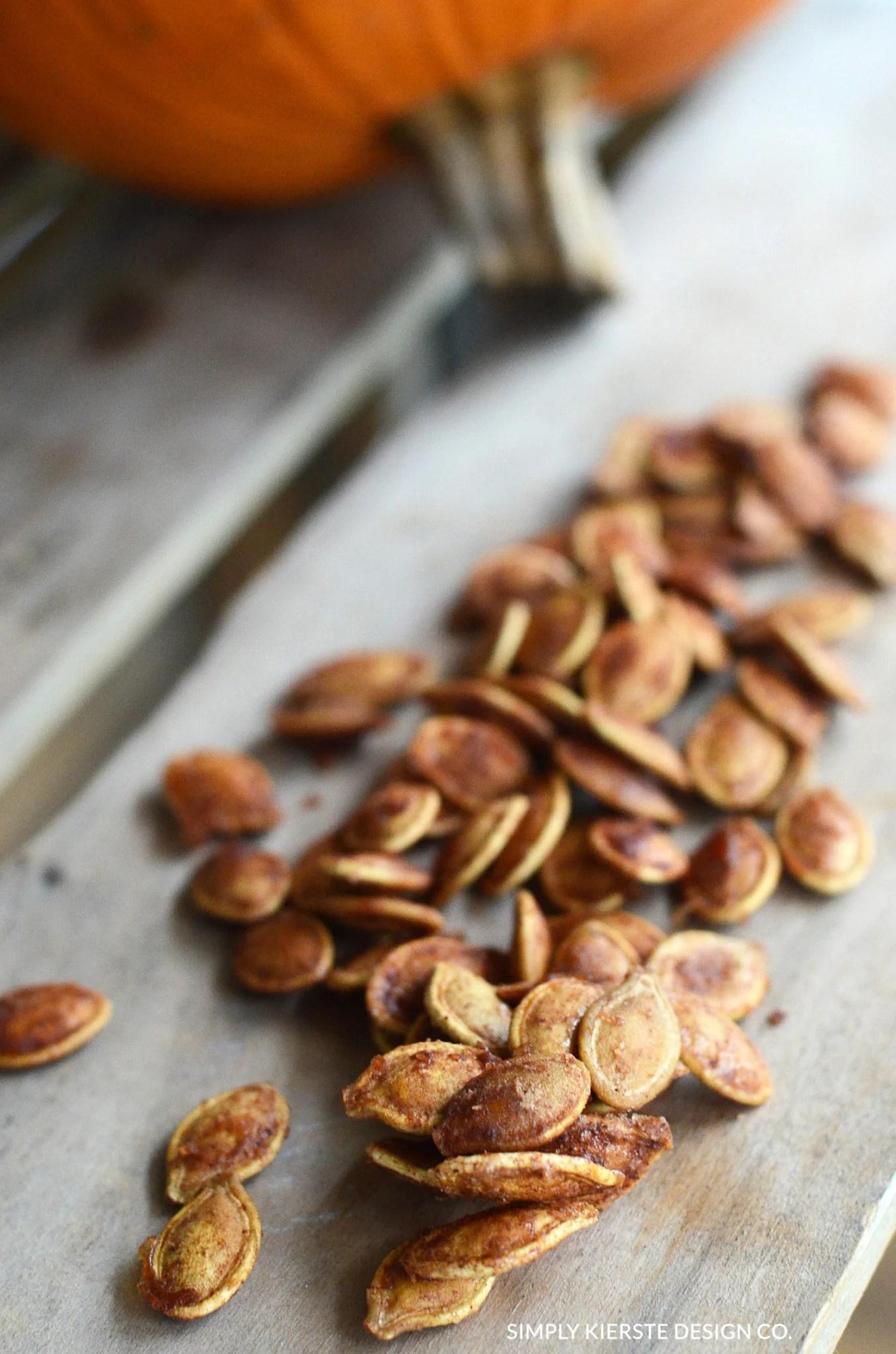 Toasted Pumpkin Seeds | Cinnamon & Sugar Pumpkin Seeds | Fall Recipes | oldsaltfarm.com
