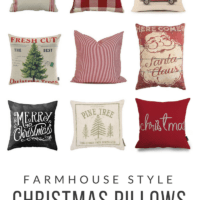 Farmhouse Style Christmas Pillows | under $20 | oldsaltfarm.com #farmhousestyle #farmhousepillows #farmhouseChristmas #vintageChristmas