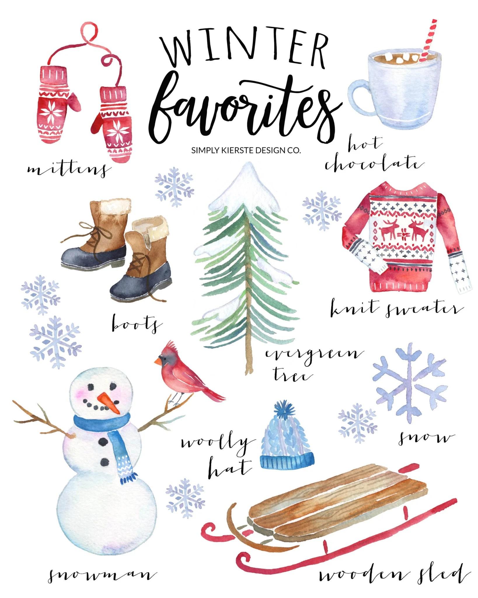 Winter Favorites Printable | Vintage Style | oldsaltfarm.com #vintageChristmas #Christmasprintable #winterfavorites #Christmasdecor