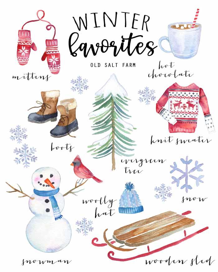 Vintage Winter Favorites Printable