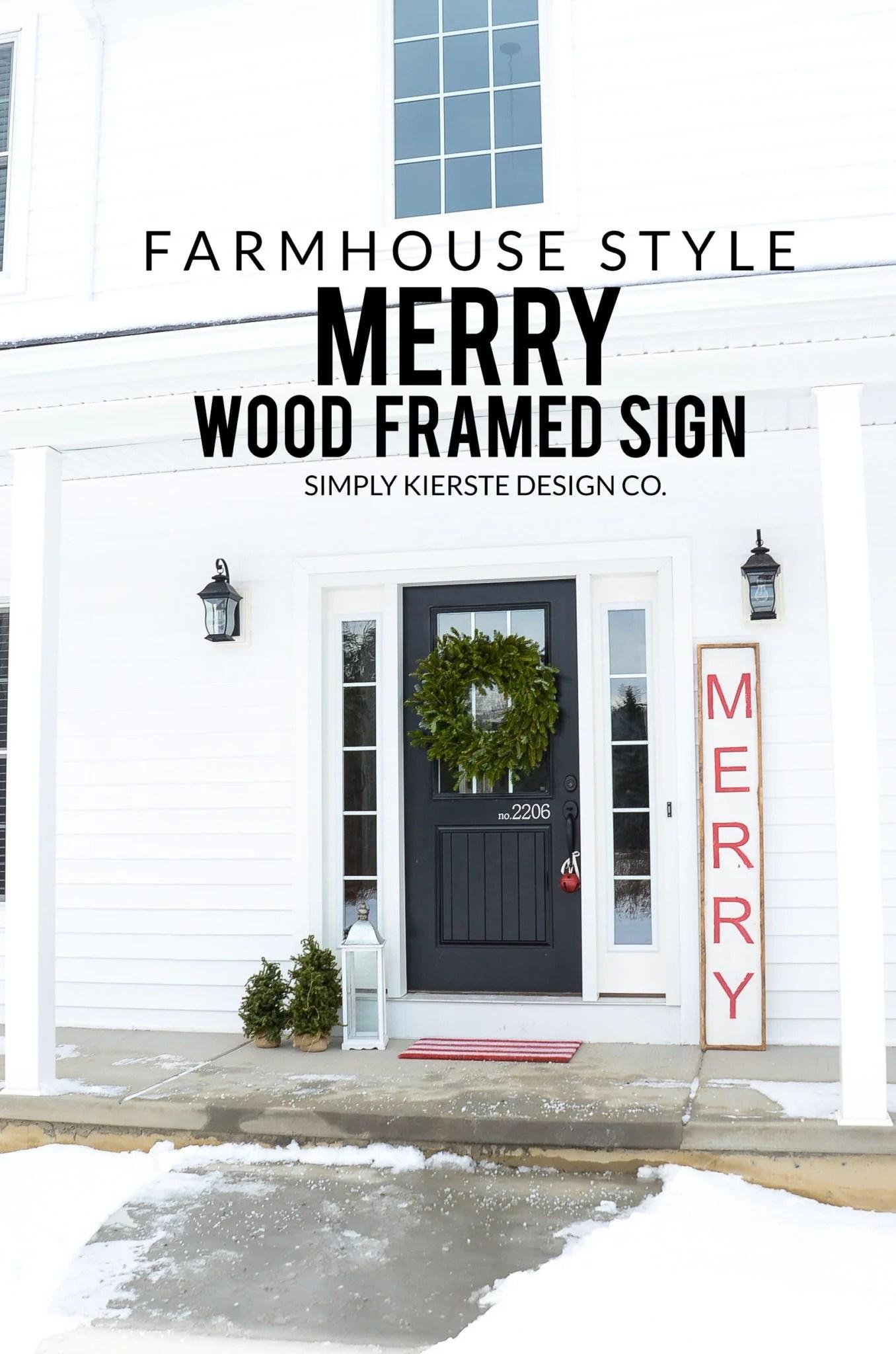 Merry Christmas Wood Sign   Farmhouse Style   oldsaltfarm.com #woodsign #diychristmasdecor #christmassign