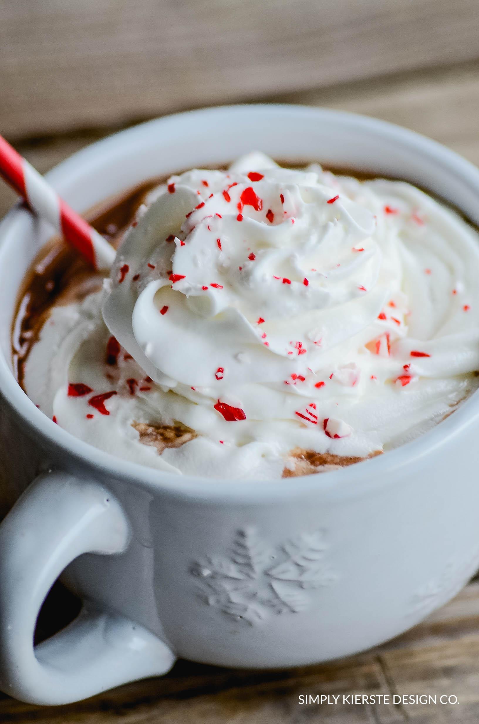The BEST Homemade Hot Chocolate with Peppermint Cream | oldsaltfarm.com #peppermint #hotchocolate #whippedcream