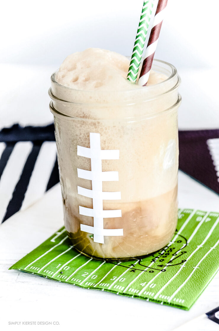 Football Mason Jar Root Beer Floats