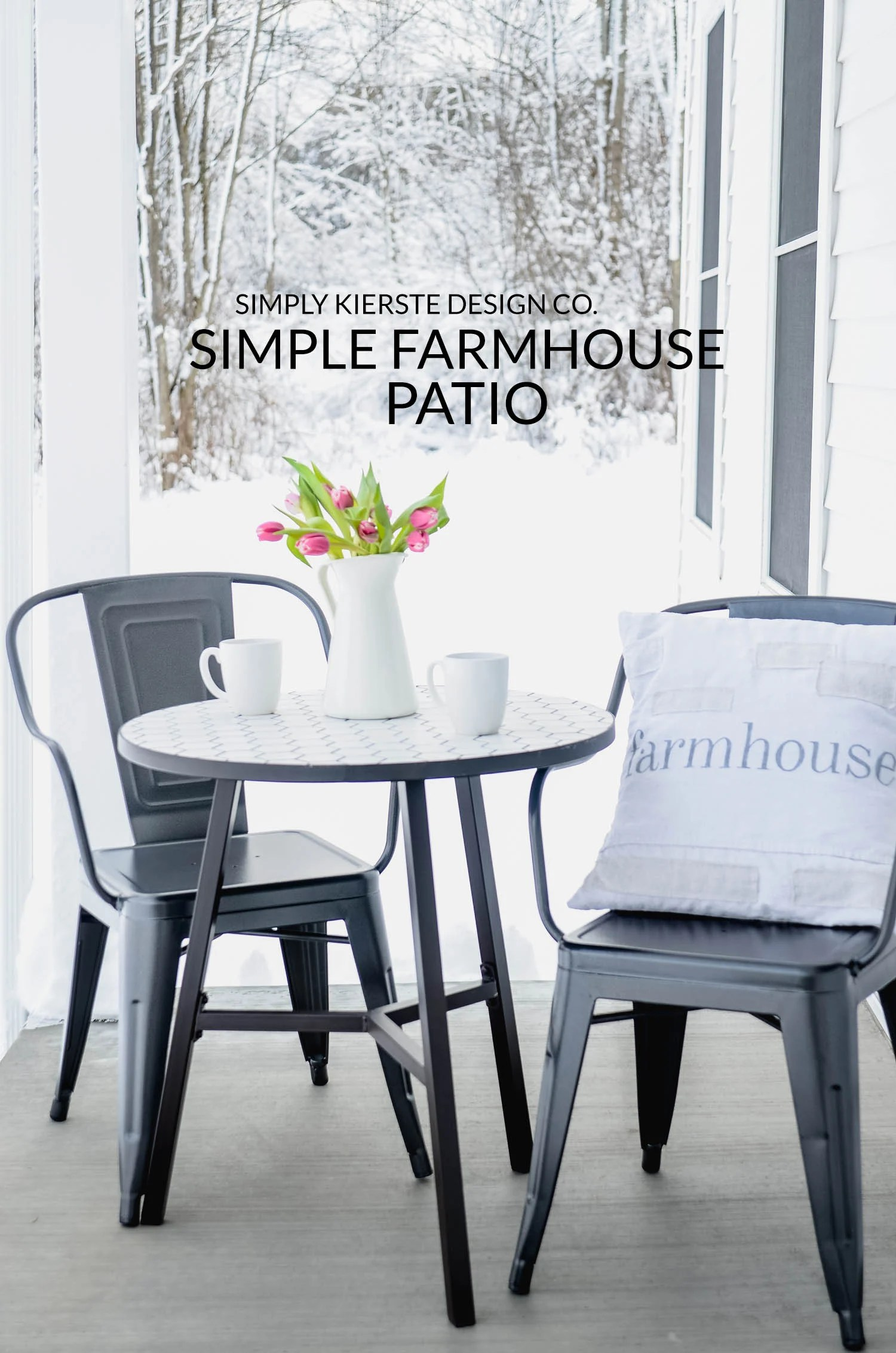 Simple Farmhouse Patio | Cozy Front Porch | oldsaltfarm.com #farmhouse #farmhousestyle #outdoorentertaining #patiofurniture