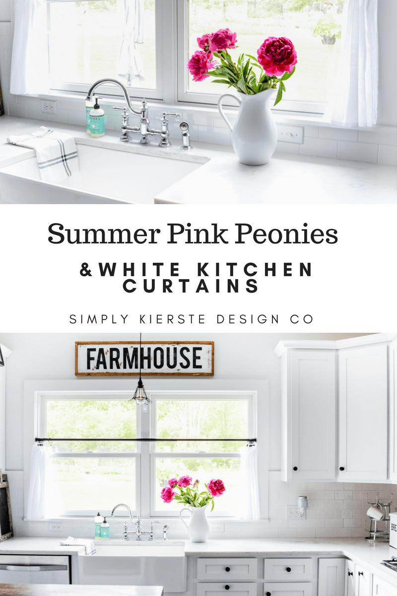 Summer Pink Peonies & White Kitchen Curtains