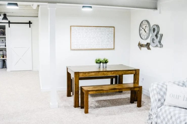 Farmhouse Style Basement Game Room | Basement Family Room
