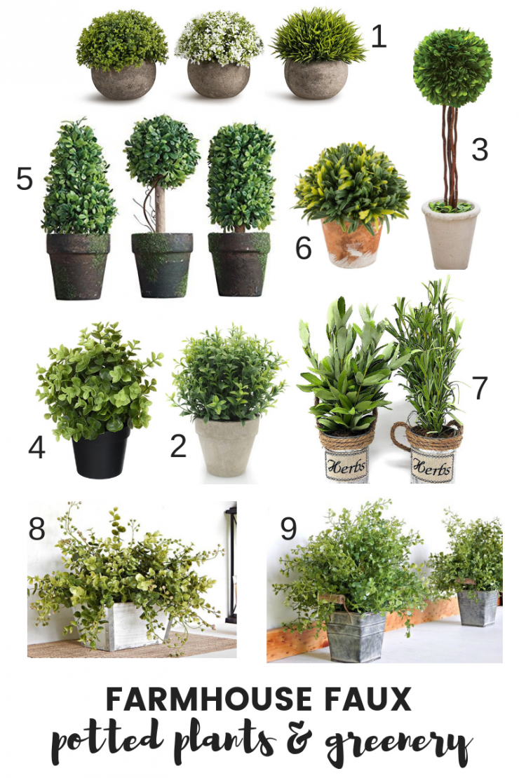 Farmhouse Faux Potted Plants and Greenery
