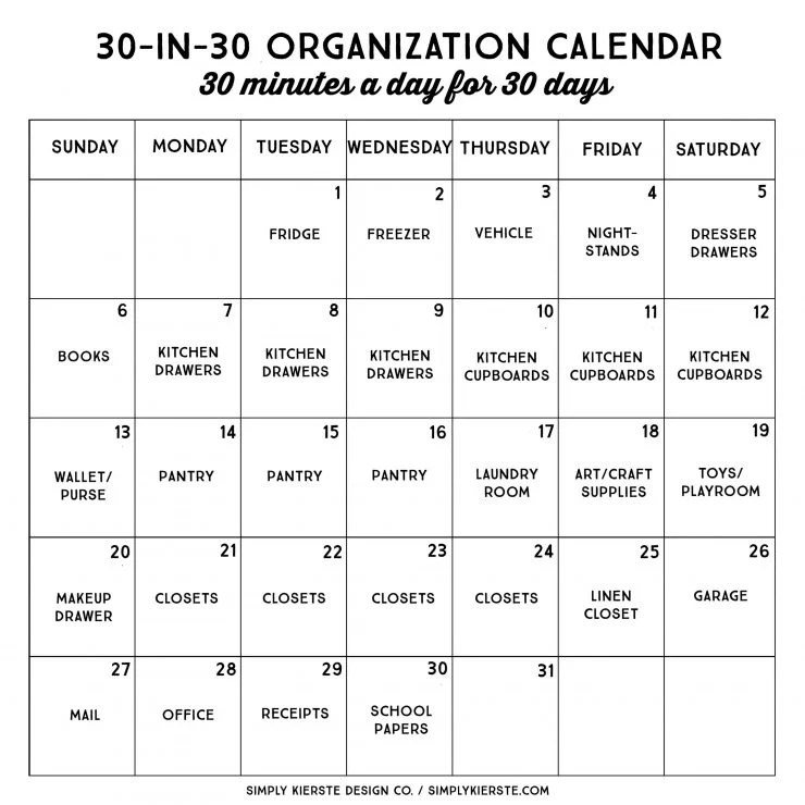 30 in 30 Organization Calendar | Get Organized in 30 days, 30 Minutes a Day!