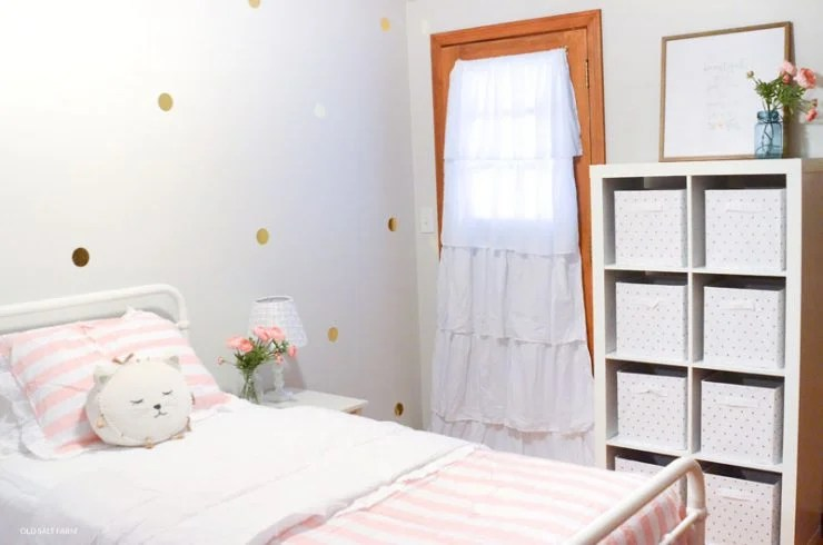 Little Girl's Bedroom Makeover | Pink Gold and White