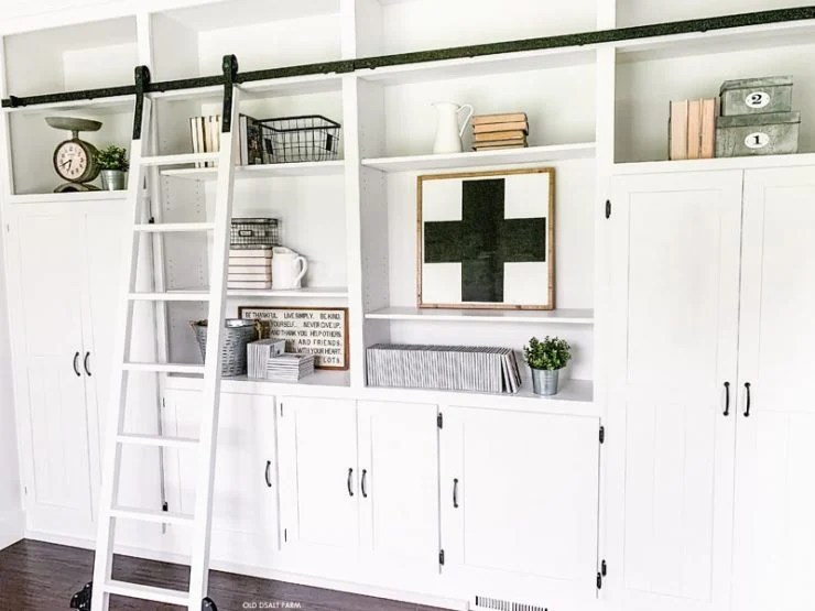 Farmhouse Bookshelves and Rolling ladder