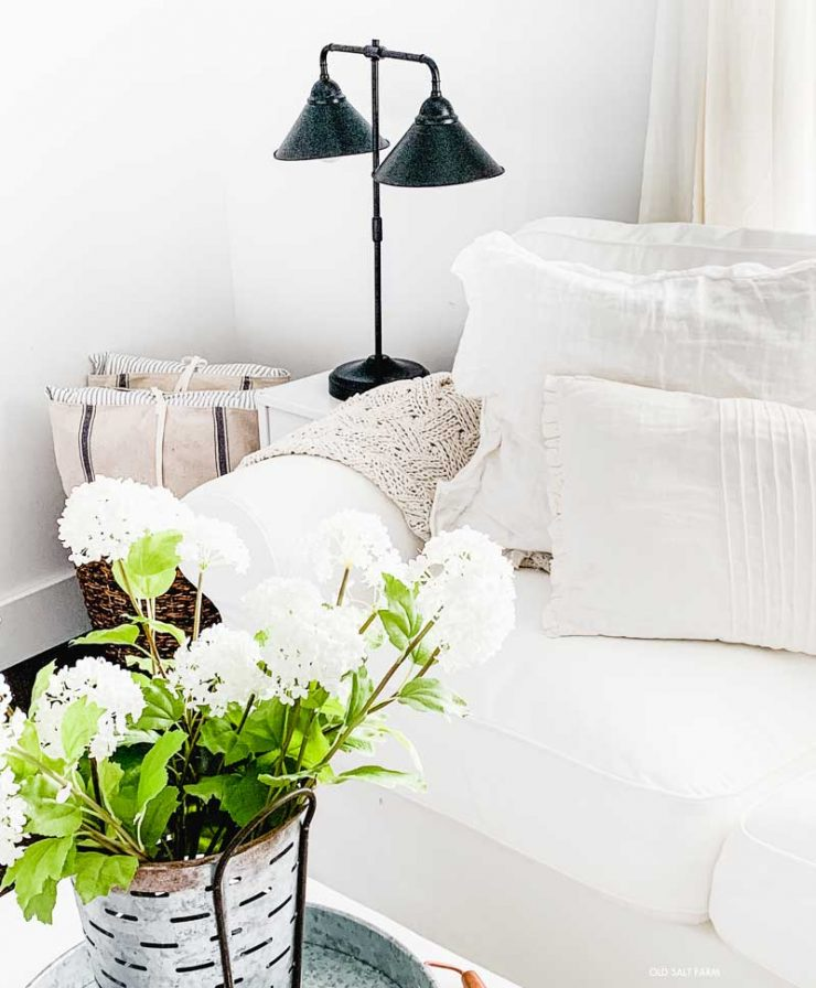 white couches farmhouse living room