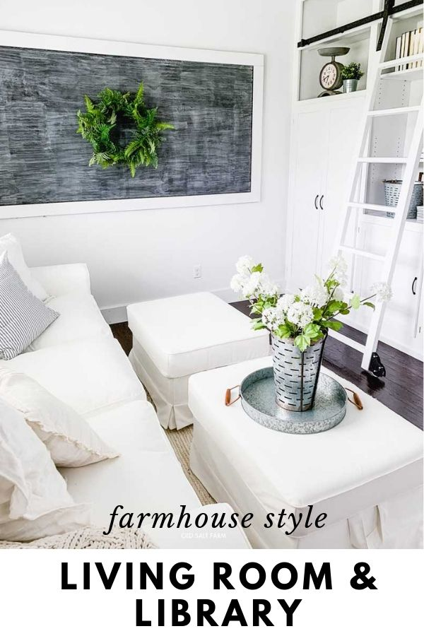 Farmhouse Living Room and Library