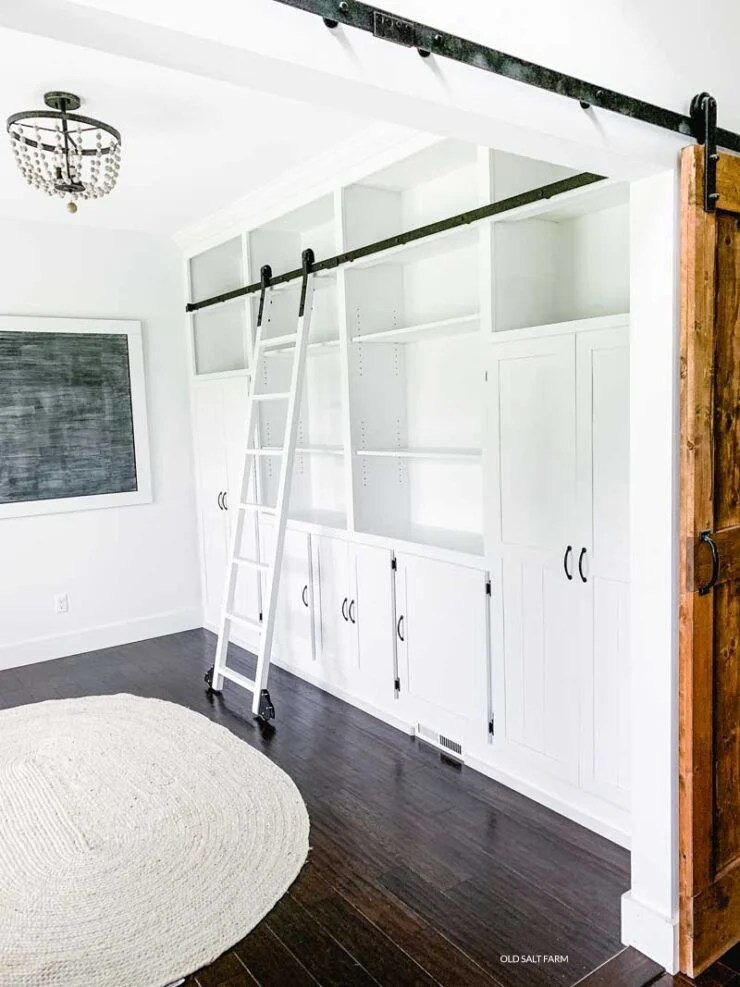 DIY Floor-to-Ceiling Bookshelves with Rolling Ladder