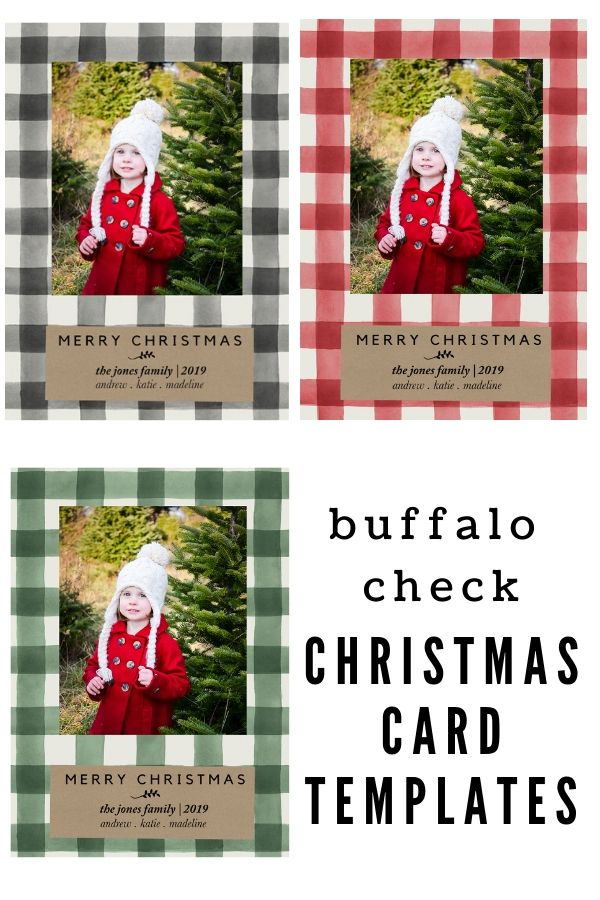 Buffalo Check Christmas Card Templates