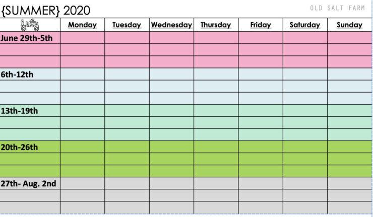 Summer Calendar July 2020