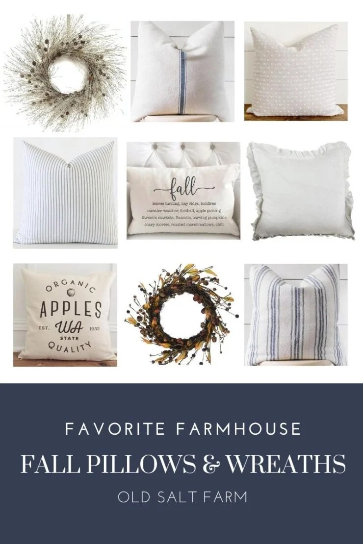 Neutral Farmhouse Fall Pillows & Wreaths