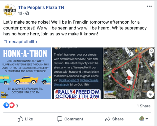 Facebook post - Honk a Thon