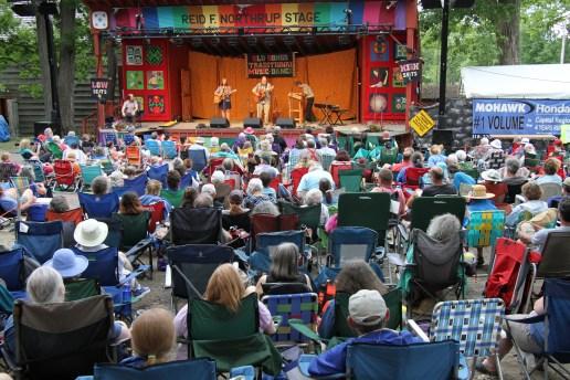 Festival goers enjoy the Jamcrackers before the rain blows.