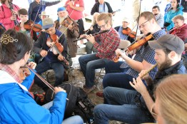 Jamming in the mud at the 2018 festival