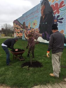 old southside 2017 great indy cleanup jason osborne volunteers mulching trees