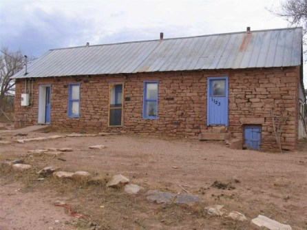 La Loma, New Mexico, old stone home for sale, old stone houses, old stone cottages, Southwest Style, masonry, adobe, front yard, historic preservation, fixer upper for sale