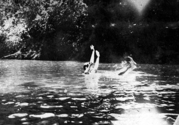 R.D. McCulloch enjoying a dip on the lake, sometime in the late 1910s or 1920s.
