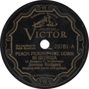 Peach Picking Time Down in Georgia, recorded August ,1932 by Jimmie Rodgers.