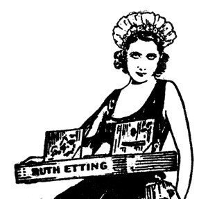 "Ruth Etting in ""cigarette girl"" attire, as featured on a 1930s Perfect Records sleeve."