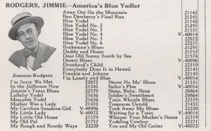 A listing of some of Rodgers' records from a 1930 Victor catalog.
