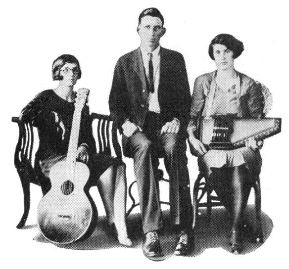 The Carter Family in the late 1920s. Left to right: Sara, A.P., Maybelle.