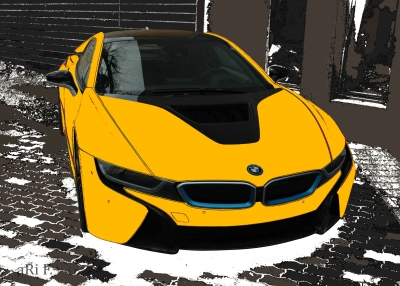BMW i8 Poster in black & yellow front