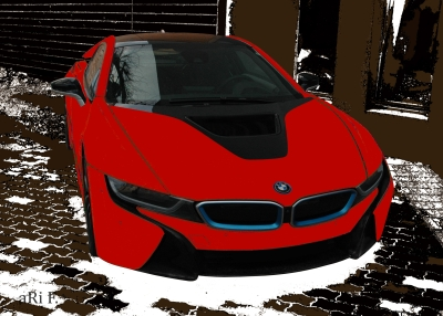BMW i8 Poster in black & red front