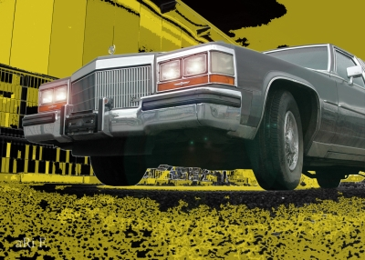 Cadillac Fleetwood Brougham Stretch-Limo in black & yellow