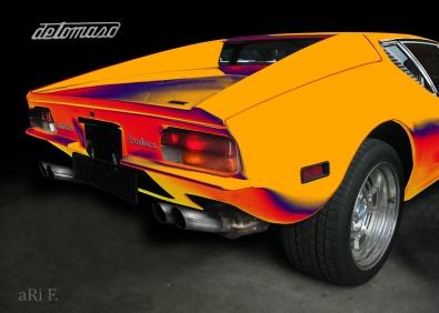 De Tomaso Pantera rear view in orange