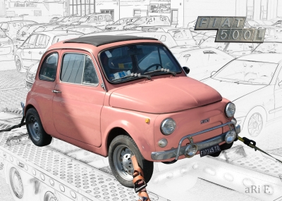 Fiat Nuova 500 L Poster in white & pink