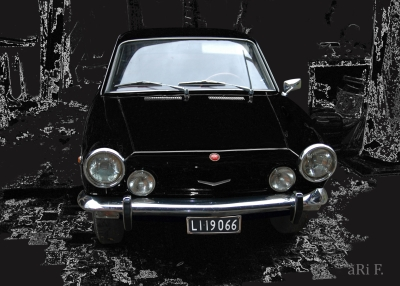 Fiat 850 Coupé Poster in black