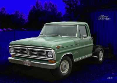 Ford F-100 Poster in blue & green (Originalfarbe)